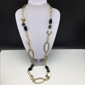 Lia Sophia Mother Of Pearl  Beaded Gold Necklace